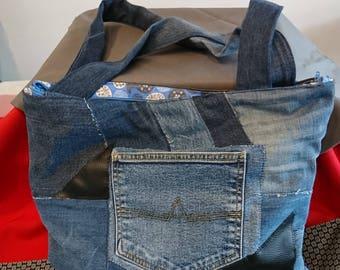 BALANCE of recycled denim and faux leather bag