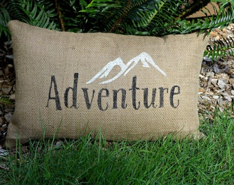 Burlap Pillow, Adventure Pillow, Throw Pillow, Rustic Pillow, Mountains Pillow, Adventure Awaits, Rustic Decor, Complete Pillow, Home Decor