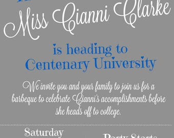 Graduation Going Away Party Invitation Customized in your college colors