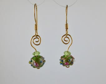 """Venetian Glass """"Cakes"""" Earrings with Peridot on Gold"""