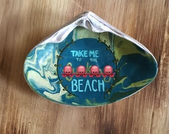 Curse Word Take Me To The F___ing Beach Jewelry Dish Clamshell