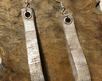 Silver Leather Loop Earrings