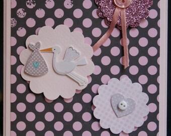 Baby girl stork Handmade Card