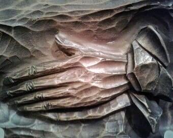 Vintage Composite Large Praying Hands Rockabilly Retro