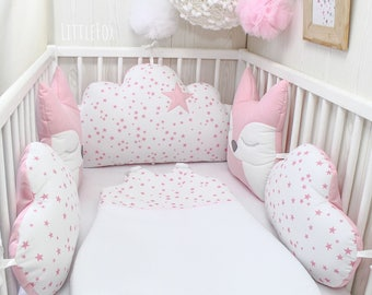 Bumper baby 60 or 70cm wide, 5 pillows of clouds and foxes, pink and white