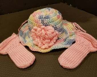 Multi-Color Baby Girl Brimmed Hat with Pink Flower and Pink Thumbless Mittens