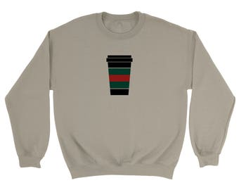Gucci Inspired Coffee Cup Sweatshirt, UNISEX Fast Shipping