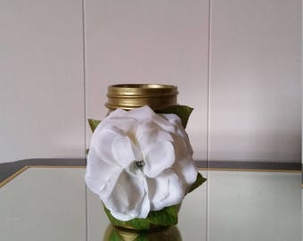 Gold Mason Jar with Flower Accent