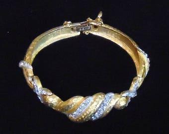 Vintage Signed BSK Curved Link Bracelet in Florentined Goldtone and Clear Rhinestones