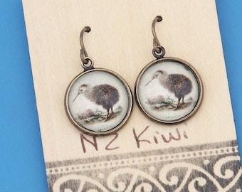 New Zealand Brown Kiwi, vintage art print, Earrings, glass dome art, niobium hypo-allergenic