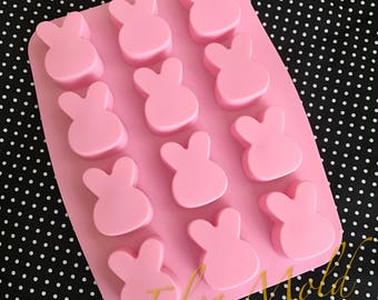 12 cavities Bunny silicone soap mold rabbit soap mold silicone molds Bunny plaster mold Ice mold silicone mold resin mold candle mold
