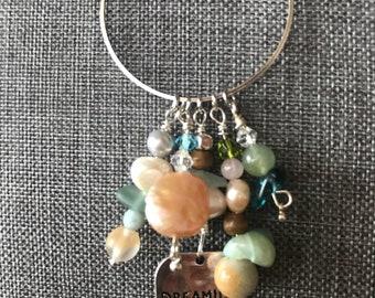 Beachy fun beaded choker pendant charms silver necklace