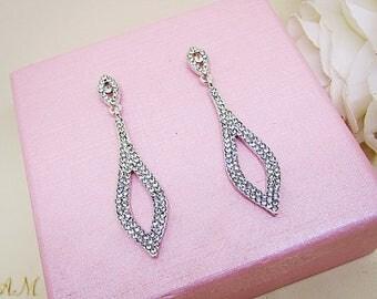 Crystal Earrings, Wedding Earrings, Bridal Earrings, Dangle Earrings, Drop Earrings, Bridesmaid Earrings, Clear Rhinestone Earrings