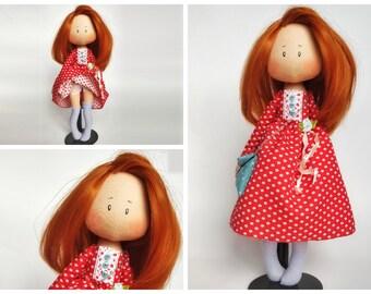 Tilda doll, rag doll, cloth doll, fantasy hair, gift for little girl, birthday gift, dolls, girl gift