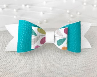 Torquoise and White Teardrop Bow||Faux Leather||Clip Or Headband