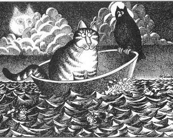 "KLIBAN Cat Original Vintage Art Print entitled ""OWL-CAT """