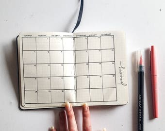 Pre-Order** Customizable Hand-Drawn Bullet Journal / Planner - A6 Size