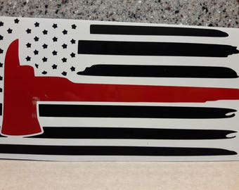 Thin Red Line Axe - Reflective Red Vinyl Decal