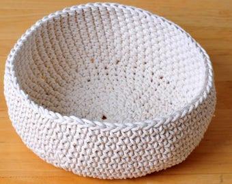 Cream crochet basket, home decor, nursery decor, bohemian decor, modern, rustic, cotton twine