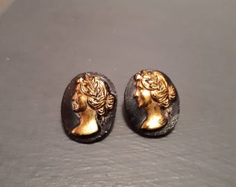 Two vintage glass gold cameo buttons *reduced*