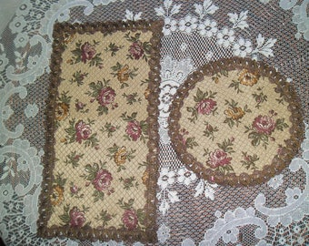 Vintage BROKAT 2 pieces. Napkins silk tapestry. Retro runner silk tapestry 2 pieces.Street silk tapestry.