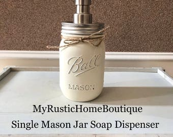Mason Jar Soap Dispenser/Mason Jar/Painted Mason Jar/Mason Jar Decor/Rustic Decor/Bathroom Decor/Home Decor