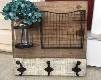 Wood Wall Organizer/Wall Organizer/Wall Hangings/Organizer/Rustic Home Decor/Farmhouse Decor/Rustic Decor/Mason Jar Decor/Mail Organizer