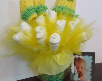 Diaper Bouquet color yellow handmade gift set