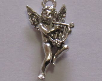 "Silver Plated Angel Charm, 1"" in length and 1/2"" in width. DIY Crafts. Jewelry Supplies."
