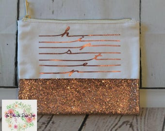 Glitter Makeup Bag in Pink Hipster