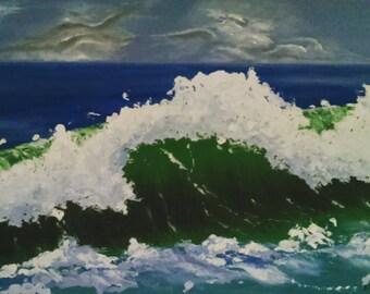 Sea, Wave,Landscape,Sky, Cloud,Wall Art, Contemporary, Home Decor, Idea Gift, Modern,Interiordesign,Original, Hand Made,Oilpainting, Framed,