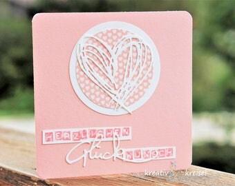 Map Filigree Heart, CA 13 x 13 cm, Pink white