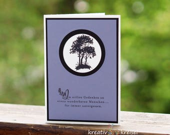 Mourning card, black trees, with envelope, handgefer