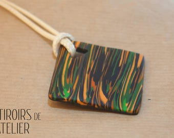 Necklace black orange and green lines, abstract, Bohemian, ethnic, boho, unique, colorful