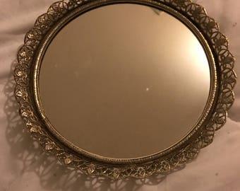 Small round vanity mirror tray