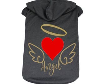 Valentine's Day Gift, Dog shirt, dog hoodie,  Angel Wings, Halo, Valentine's Dog Hoodie, dog lover gift, Pet clothes, Puppy Hoodie, Pet tops