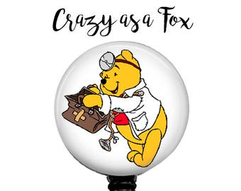 Doctor Winnie the Pooh Retractable Badge Holder, Badge Reel, Lanyard, Stethoscope ID Tag, Pooh Bear, Doctor, Surgeon,  Gift