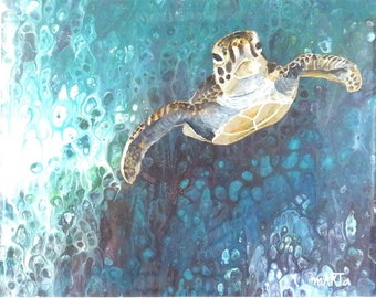 Original abstract Fluid Acrylic Painting, unique, embellished with semi realistic turtle