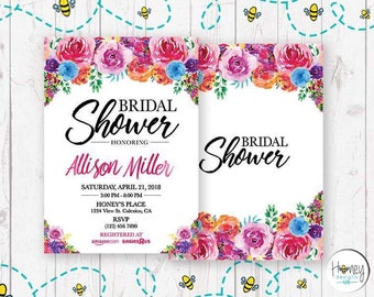 Bridal Shower, Digital, Invitation, Flowers, Bride to be, Celebration, Party.