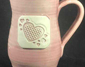 Hand-Thrown Pink Hearts Mug