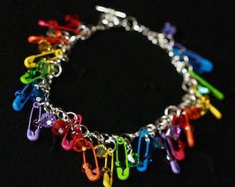 Rainbow Safety Pin Beaded Bracelet