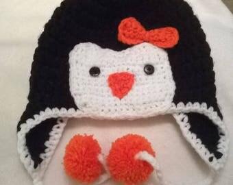 Kids Penguin Flap Ear Hat