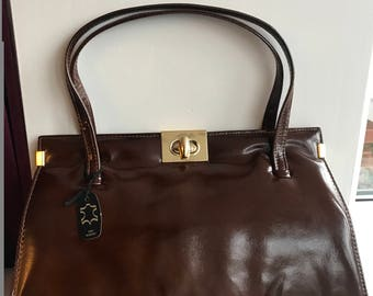 Holmes of Norwich Vintage Brown Shiny Leather Handbag with Elbief Frame