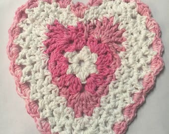 Heart-shaped Dishcloth, Valentine's Dishcloth, Washcloth