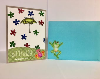 Frog Theme Happy Birthday Card