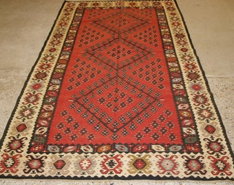 Old Turkish Sarkoy Kilim Rug, Traditional Design On Soft Red Ground, Good Ivory Boarder, Circa 1920