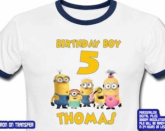 Minions Iron On Transfer , Minions , Minions Birthday Shirt DIY , Boy Birthday Shirt DIY , Minions Shirt , Personalize Name , Digital File