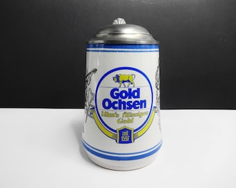 Golden Ox Beer/Gerz W. Germany-collector's mug with tin lid