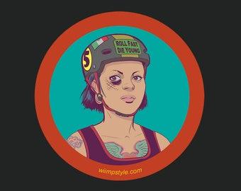 Roller Derby Girl Round Sticker