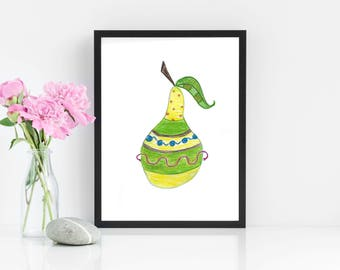 Art Print: Striped Pear - Pear Print - Pear Art Print - Kitchen Art - Fruit Art - Fruit Decor - Kitchen Decor - Fruit Drawing